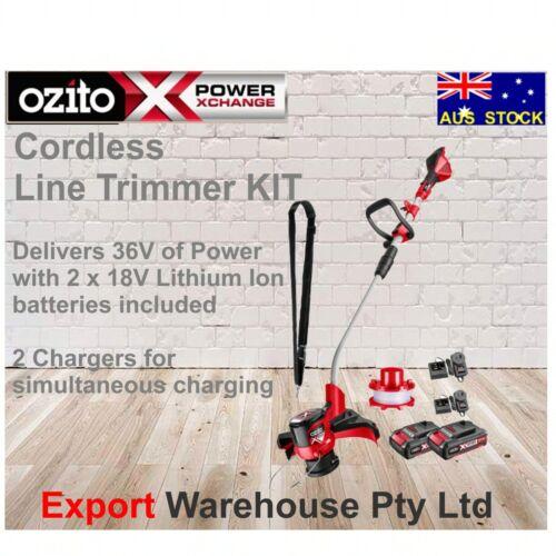 Ozito PXC 2 x 18V Cordless Line Trimmer Kit