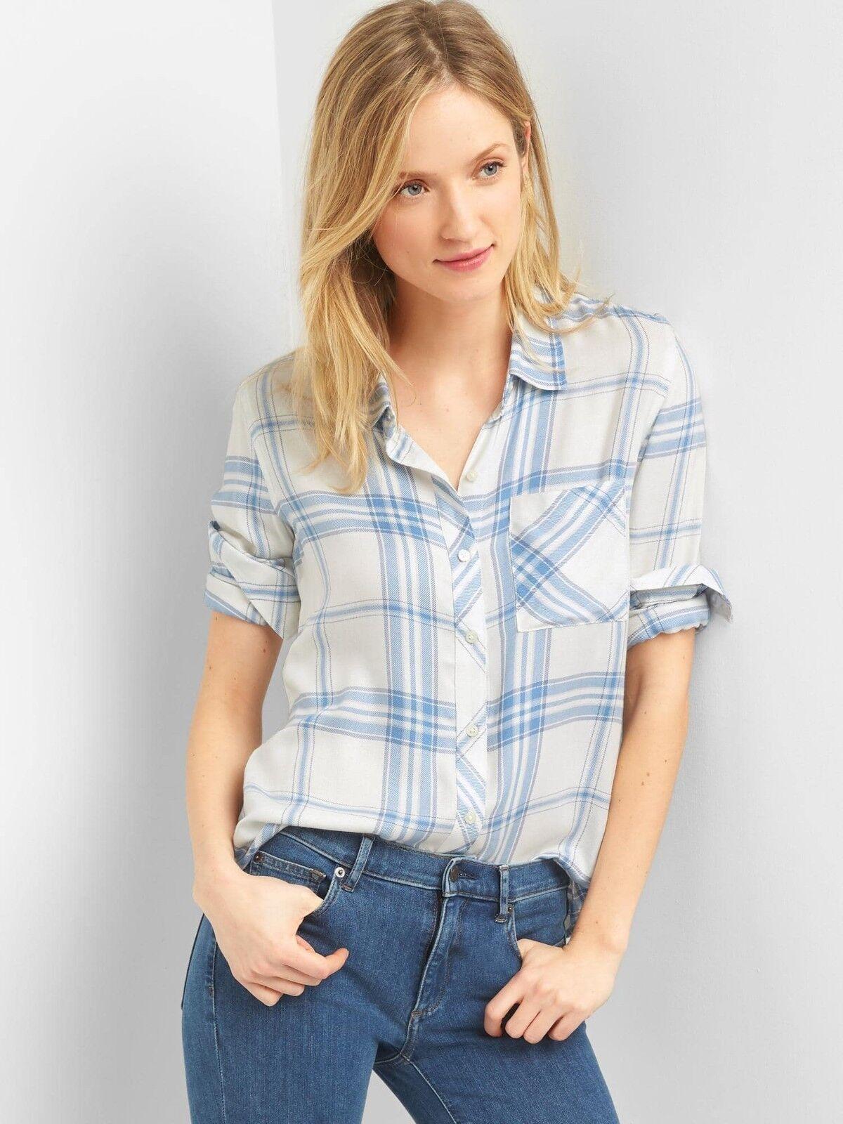 NWT Gap Plaid drapey shirt, light bluee plaid SIZE L          v726 v01318