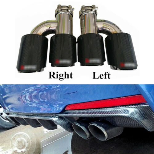 """63in 89 out Carbon Fiber Exhaust Pipe Tail Muffler Tip Left+Right 2.48/""""-3.5/"""" out"""