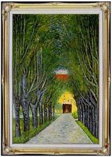 Framed Oil Painting, Gustav Klimt Avenue of Schloss Kammer Repro, 24x36in
