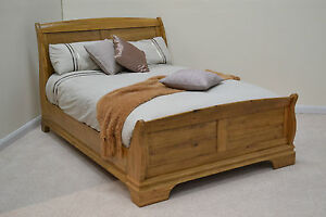 French Farmhouse 6ft Super King Oak Sleigh Bed Bedroom