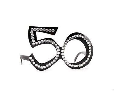 Black 21st Birthday Novelty Fun Party Clear View Diamante Bling Age Glasses New