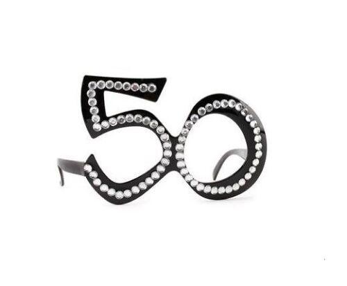 Noir 50th ANNIVERSAIRE Nouveauté Fun Parti Vue Claire Diamante Bling âge Lunettes