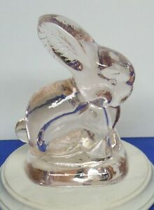 Easter-Spring-Pale-Pink-Glass-Figurine-Bunny-Rabbit-3-3-4-034-High-Used