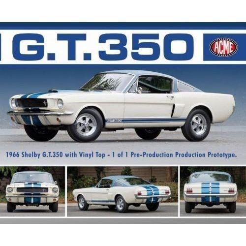 1 18, GMP 1966 Shelby GT350 GT350 GT350 Predotype Vinyl top White bluee MIB LE 1 of 564 fb2302