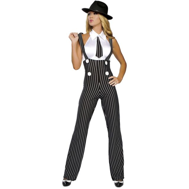 Female Gangster Costume for Women Adult Mobster Mafia Girl Halloween Fancy Dress