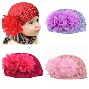 Cute Knitted Pattern Crochet Lace Flower Beret Hat Cap For Infant ... d8d926f6ebb