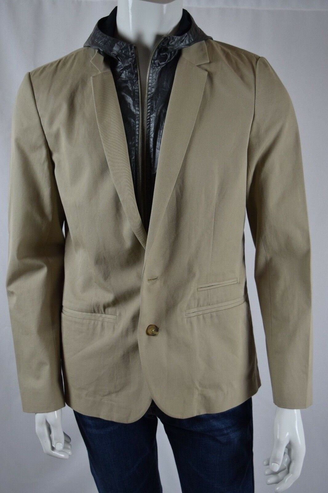 New Seven 7 FOR ALL MANKIND Casual BLAZER removable for Men SZ XL IN BEIGE KHAKI