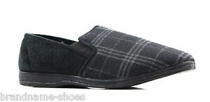 NEW-MENS-GROSBY-FABIO-COMFORTABLE-CHARCOAL-BLACK-SLIPPERS-MOCCASINS-WARM-SHOES