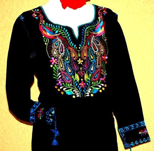 Mexican Black Blouse Top Shirt Peacock Embroidery Pavorreal Boho Chiapas All Szs