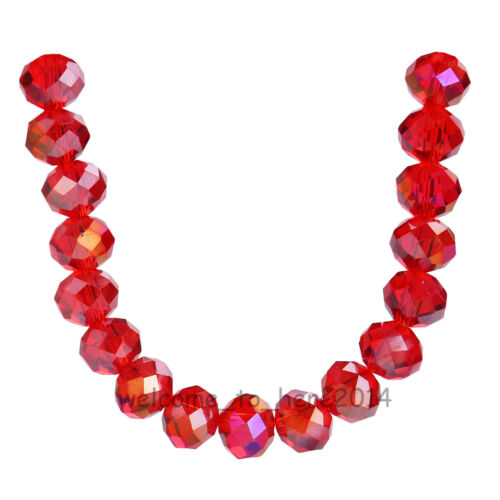 8x6mm Rondelle Faceted Crystal Glass Loose Spacer Colorized Beads 69Colors