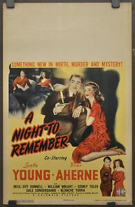 A-NIGHT-TO-REMEMBER-1942-ORIG-WC-MOVIE-POSTER-14X22-LORETTA-YOUNG-BRIAN-AHERNE