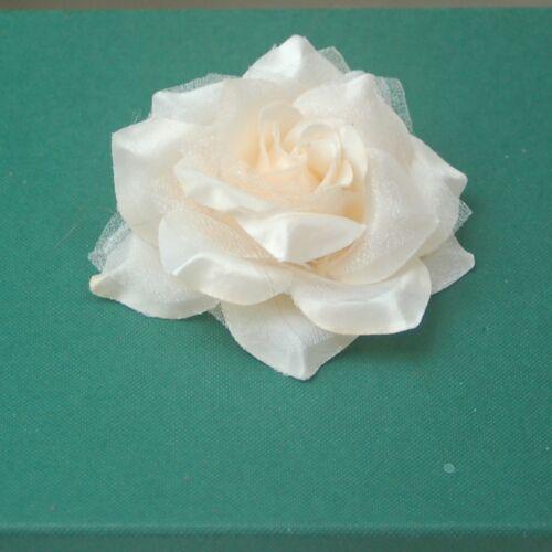 2 Rosenköpfe Textil Blume Satin-Organza Farbwahl Flower head Rose 7,5 cm