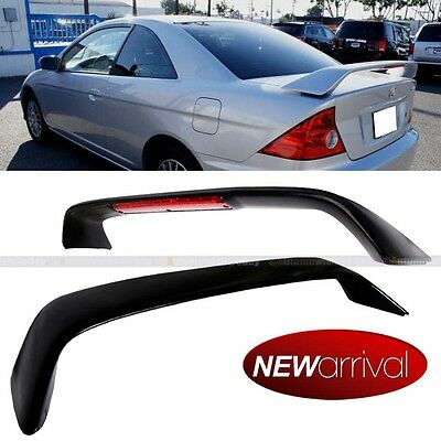 For 01-05 Civic OE SI Style Unpainted Matte Black Trunk Spoiler Wing W/ LED