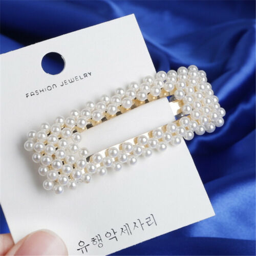 Women Pearl Acid Acetic Acrylic Pin Barrette Clip Hairpin Hair Accessories Chic