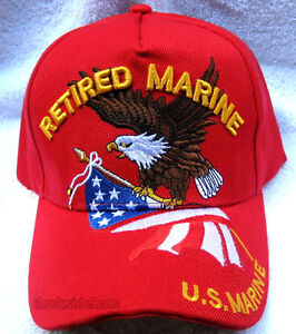 e10f8c53c4582f U.S.MARINE RETIRED Cap/Hat w/Eagle & Flag RED Military*FREE SHIPPING ...