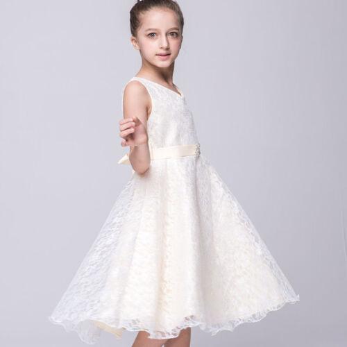 Blumen Mädchen Spitze Kleid Festkleid Kinder Hochzeit Party Spitzenkleid DE