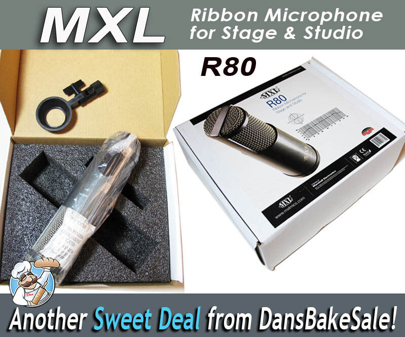 MXL R80 Ribbon Microphone hög SPL for Guitar, Horns, Stage & Studio New in Box
