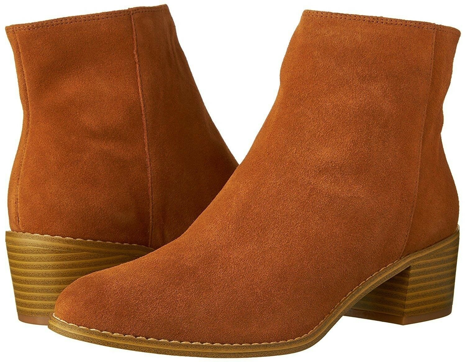 Women Dress shoes Clarks Breccan Myth Ankle Boot Zip Suede Tan Brown