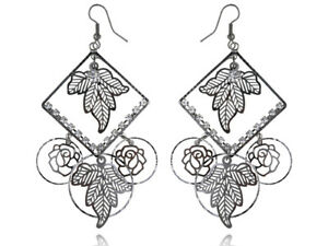 Fashion-Vintage-Alloy-Flower-Leaves-Pattern-Dangle-Earrings-Studs-Jewelry-gift