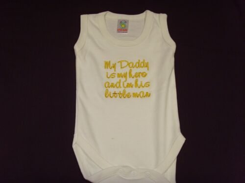 Funny Embroidered Personalised Vest Baby Shower Gift My daddy is my hero and im