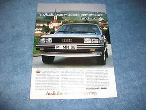 "1983 Audi 5000 Turbo Vintage Ad ""...Luxury Without Performance is Unthinkable."""