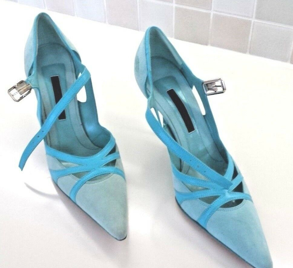 NEW Narciso Rodriguez Turquoise bluee Leather Suede Stiletto Ankle Strap 9.5 39.5