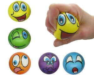 12x-Softball-Smiley-6-cm-Stress-Ball-Knautschball-Schaumstoffball-Jonglierball