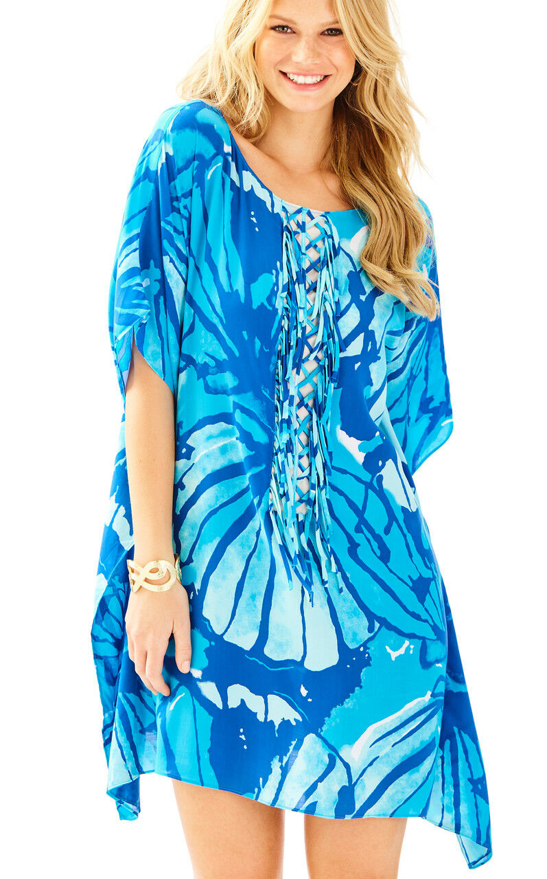 NWT  Lilly Pulitzer LINDAMARIE Sparkling bluee Get Inky Caftan Dress