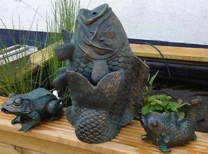 Premium-Tierfiguren-Speier-Wasserspeier-Koi-Fisch-Frosch-Komplett-Sets