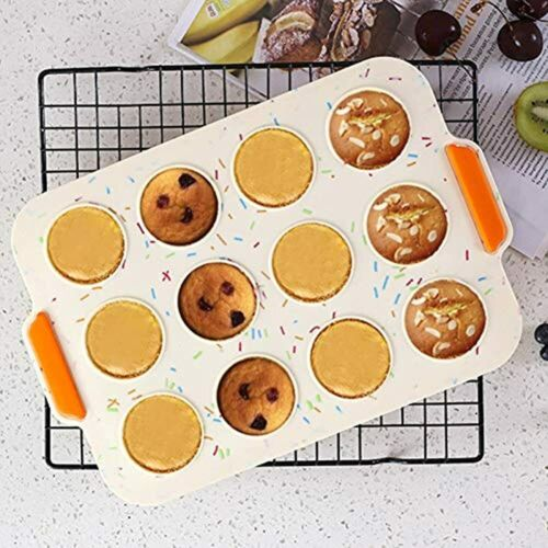 Details about  /Silicone Mini Muffin Pan 12 Cup Non-stick Cupcake Food Grade Tins Egg Baking