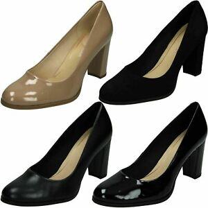 Mujer Clarks Elegante Zapatos de Salón Tacón Medio