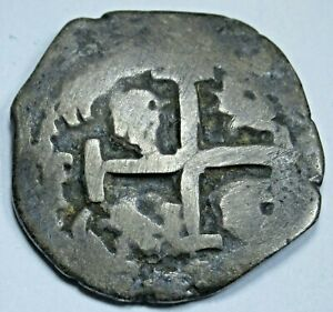 1739-Spanish-Silver-2-Reales-Genuine-Antique-Colonial-Pirate-Two-Bits-Cob-Coin