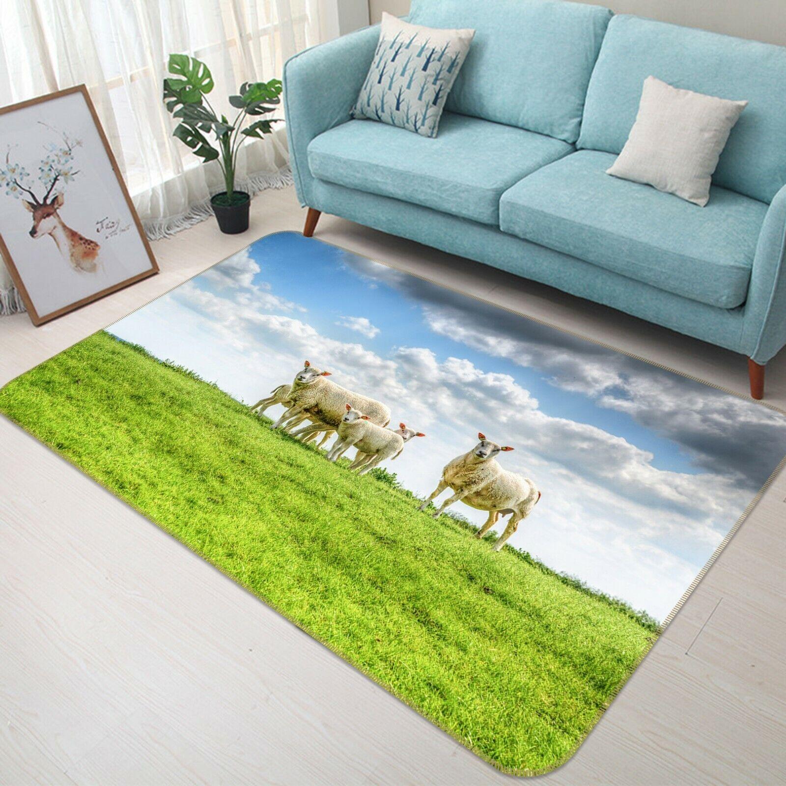 3d ovini pascoli a093 GIOCO ANIMALI antiscivolo tappeto elegante foto TAPPETO Wendy
