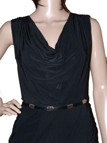 NEW LADIES EX RIVER ISLAND BLACK COWL NECK BELTED WRAP SLEEVELESS BODYCON DRESS