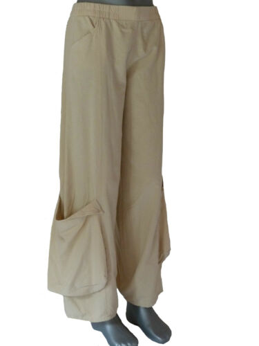 Misura Pantaloni 46 Pantaloni 46 beige Kekoo larga Lagenlook 44 Pantaloni in antiscivolo 48 cotone gamba qpfZWp