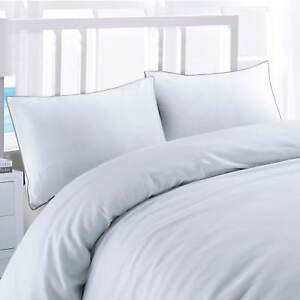 Luxury-200-Thread-Woven-Waffle-Checked-100-Cotton-Quilt-Duvet-Cover-Set-White