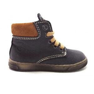 Kickers-scarpe-Primi-Passi-Bambino-pelle-sottopiede-Anatomico-blu-lacci-lampo
