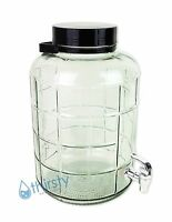 3 Gallon Glass Water Bottle Faucet Carboy Canteen Jug Container Dispenser Black