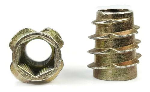 EZ-LOK Die Cast Zinc Flush Hex-Drive Threaded Inserts for Wood M8-1.25