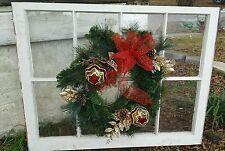 VINTAGE SASH ANTIQUE WOOD WINDOW UNIQUE FRAME PINTEREST CHRISTMAS WREATH 36X28