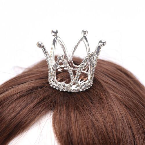 Women Lady Girl Mini Rhinestone Crown Bridal Tiara Hair Combs Pins Wedding Party