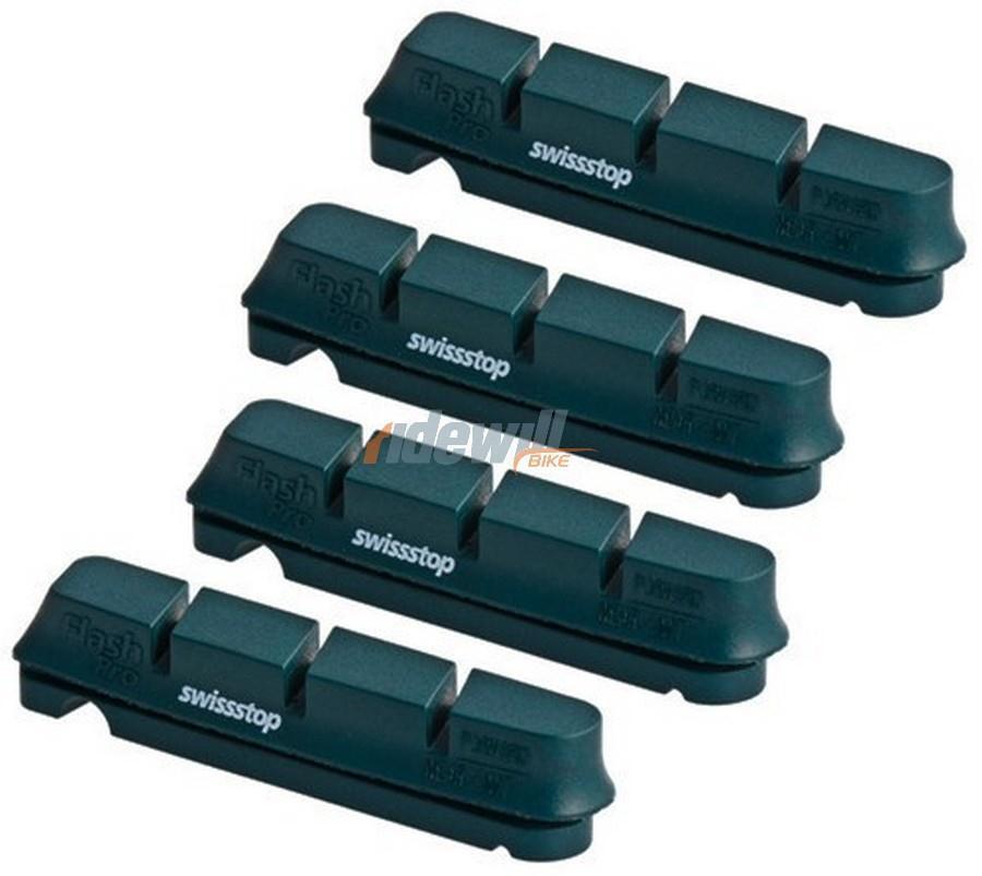 set 4 pattini flashpro original black per SwissStop shimano sram alluminio SwissStop per bicic 7c6114