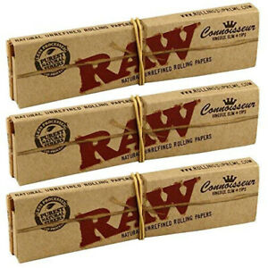 RAW-Connoisseur-King-size-Slim-Skin-Rolling-Papers-3x-with-Roach-Tips