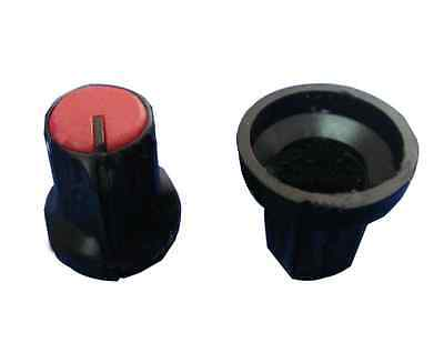 50X New Potentiometer knob Black-Red For 6mm Shaft Pots BEST US Usefull Better