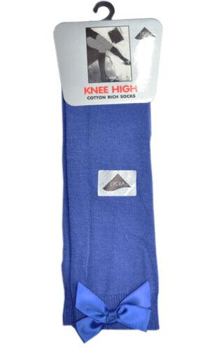 Kids Knee High Junior Girls School Socks With Bow Girls Ten Colors all sizes