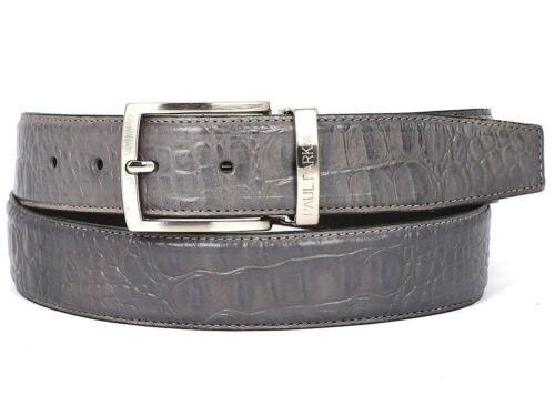 Paul Parkman Men/'s Crocodile Embossed Calfskin Leather Belt Gray B02-GRY
