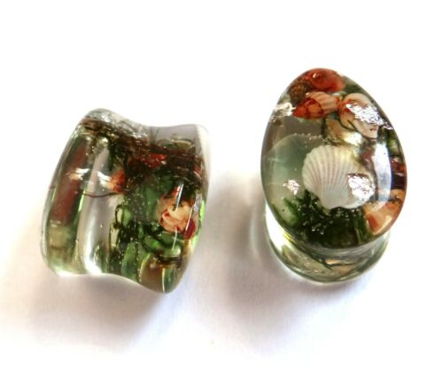 Details about  /Teardrop Nautical Style Plugs Sea Shell gauges Dropshaped Mermaid tunnels 1 Pair