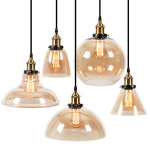 Pendant Lighting Amber Glass Shade Industrial Ceiling Light Lamp Home