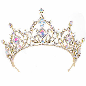 7-5cm-High-Adult-Gold-AB-Crystal-Wedding-Bridal-Party-Pageant-Prom-Tiara-Crown